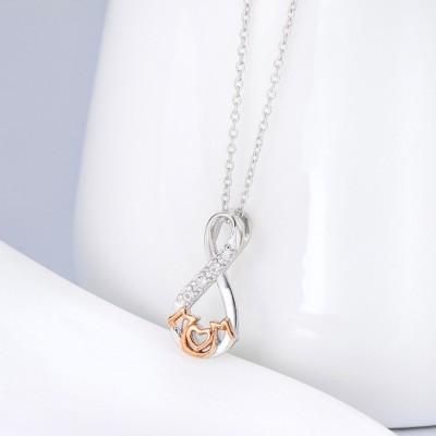 Gift for Mom Plata de Ley 925 Oro Rosa Amor Infinito Collares