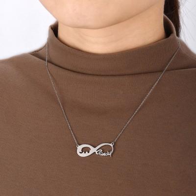 Plata de Ley 925 Amor Infinito Elephant Grabado Collares