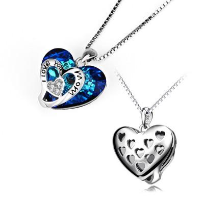 Gift for Mom Cristal de Swarovski Plata de Ley 925  CorazónCollares