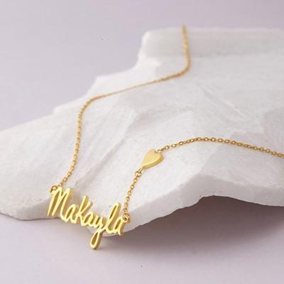 Plata de Ley 925 Oro  CorazónSignature Nombre Collares