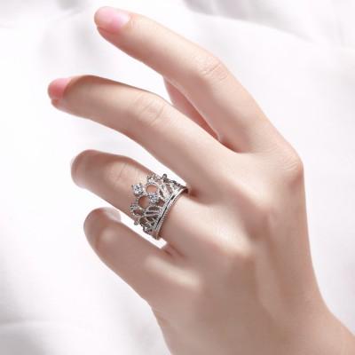 Corona Diseño Zafiro Blanco Plata Esterlina Anillo de Compromiso de las Mujeres