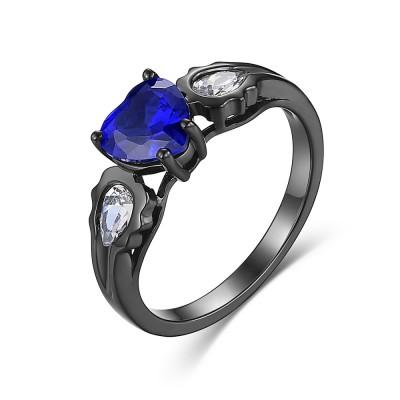Corte Doble Corazón Azul Zafiro S925 Plata Anillos de Promesa Para Ella
