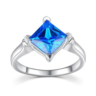 Azul Zafiro Corte Princesa Plata de Ley 925 Anillo de Compromiso de las Mujeres