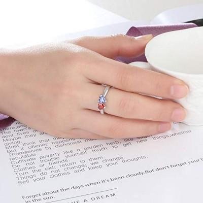 Corte Doble Corazón Plata de Ley 925Personalizada Grabado Anillo de Piedra de Nacimiento